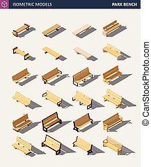 Isometric Outdoor Park Bench Set. Vector Illustration
