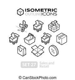 Isometric outline icons set 27