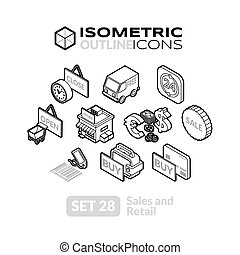 Isometric outline icons set 28