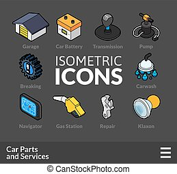 Isometric outline icons set 35
