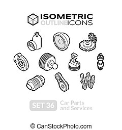Isometric outline icons set 36
