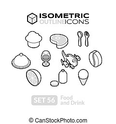 Isometric outline icons set 56