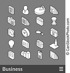 Isometric outline icons set