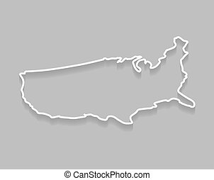 isometric outline of United States map - vector illustration