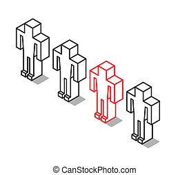 Isometric outline unique man
