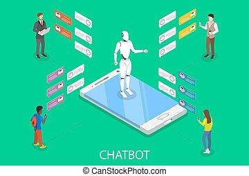 isometric, płaski, concept., wektor, chatbot