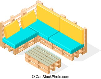 Isometric pallet furneture. Comfy pallet for sitting with a...