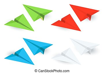 Isometric paper planes icon set in simple flat style Vector illustration