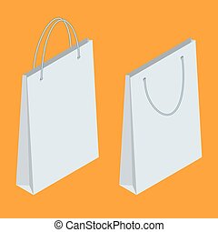 Isometric Paper Shopping Bags collection isolated on white background. Black Friday sales.