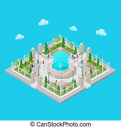 Isometric Park. City Park. Active People Outdoors. Vector illustration