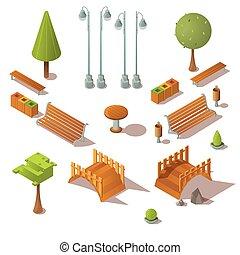Isometric park set. Benches, trees, wooden bridges, litter ...