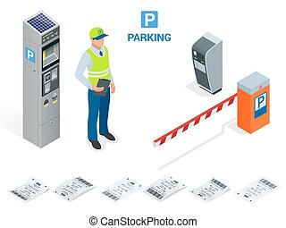 Isometric Parking Attendant. Parking ticket machines and...