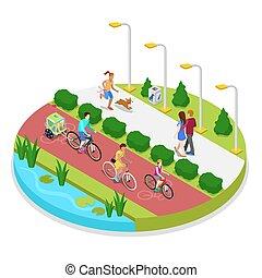 isometric, parque cidade, composição, com, executando, mulher, e, família, ligado, bicycles., ao ar livre, activity., vetorial, apartamento, 3d, ilustração