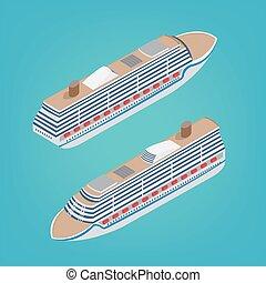 Isometric Passenger Ship. Tourism Industry. Cruise Liner Travel. Mode of Transportation. Vector illustration