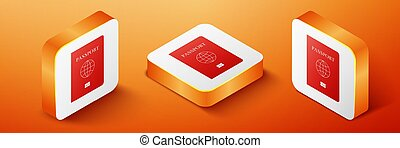 Isometric Passport with biometric data icon isolated on orange background. Identification Document. Orange square button. Vector