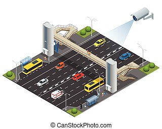 Isometric pedestrian bridge with a lift over the highway....