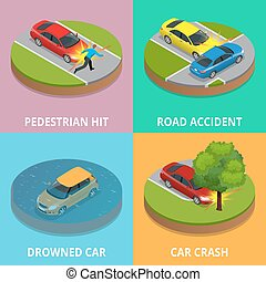 Isometric pedestrian hit, road accident, drowned car and car crash concept. Car crash template vector flat style. Used for workflow layout, game, diagram, number options, web design and infographics