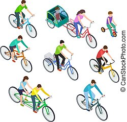 Isometric people bike. Man woman riding bikes outdoor, bicyclists. Active family biking. Cyclist bicycle 3d vector isolated set