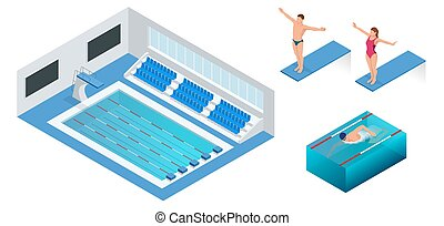 Isometric people diving into water in to the swimming pool, diver. Male swimmer, that jumping and diving into indoor sport swimming pool. Sporty man.