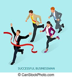 Isometric people. Entrepreneur businessman leader. Businessman and his business team crossing finish line and tearing red ribbon finishing first in a market race. Flat style vector illustration.