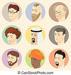 Isometric people heads.