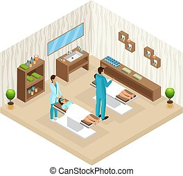 Isometric People In Beauty Salon Concept