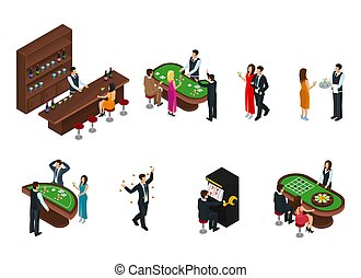 Isometric People In Casino Set