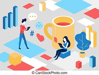 Isometric people in social media communication concept