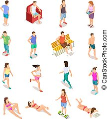 Isometric people in summer clothes. 3d human characters,...