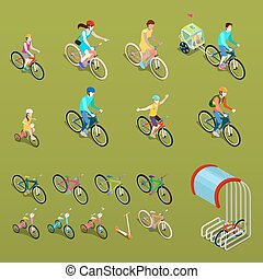 Isometric People on Bicycles. City Bike, Family Bike and Children Bicycle. Vector illustration