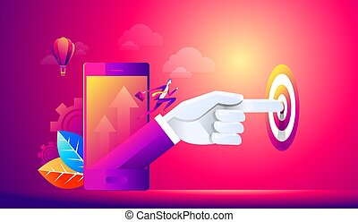 Isometric people person, startup start, hand presses start button, take off young businessmen, development and business start up, business concept