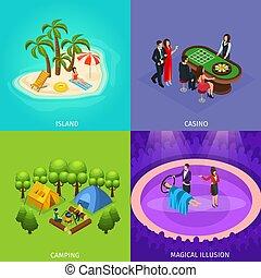 Isometric People Recreation Concept