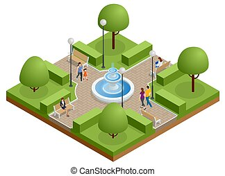 Isometric people relaxing and walking in the park near the lake. Active and healthy relaxation.