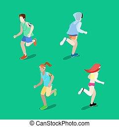 Isometric People. Running Man. Running Woman. Active People. Vector illustration