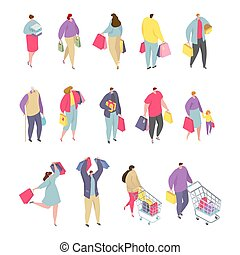 Isometric people shopping man and woman character template with shopping baskets and bags vector illustrations set.