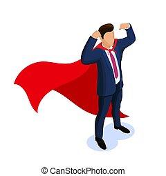 Isometric people Super worker, businessman, manager, superhero. Vector illustration isolated on white background.