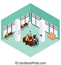 Isometric People Teamwork Concept