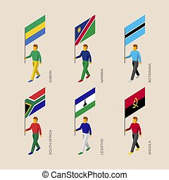 Isometric people with flags: Gabon, Namibia, Botswana, South Africa, Angola
