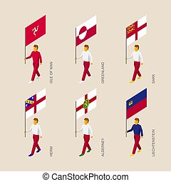 Isometric people with flags: Greenland, Liechtenstein, Herm,...
