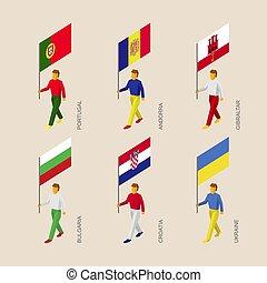 Isometric people with flags: Portugal, Andorra, Ukraine, Gibraltar, Croatia, Bulgaria.