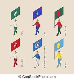 Isometric people with flags:Hong Kong, Bangladesh, Macau, Guam, Palau