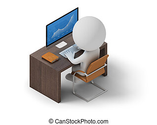 isometric people - workplace - Isometric person sitting at...