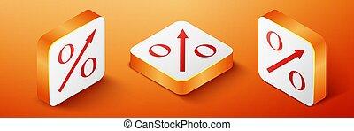 Isometric Percent up arrow icon isolated on orange background. Increasing percentage sign. Orange square button. Vector