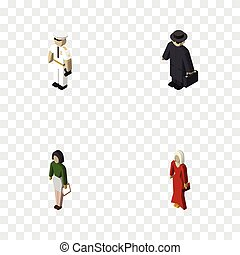 Isometric Person Set Of Detective, Pedagogue, Seaman And Other Vector Objects. Also Includes Girl, Police, Educator Elements.