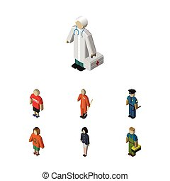 Isometric Person Set Of Medic, Plumber, Lady And Other...