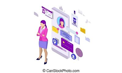 Isometric Personal Data Information App, Identity Private Concept. Digital data Secure Banner. Biometrics technology for personal identity recognition and access authentication. HD Video