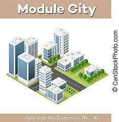 Isometric perspective city with streets, houses,...