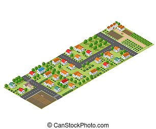 Isometric perspective farms