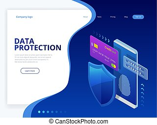 isometric, pessoal, proteção dados, teia, bandeira, concept., cyber, segurança, e, privacy., tráfego, encryption, vpn, privacidade, proteção, antivirus., vetorial, illustration.