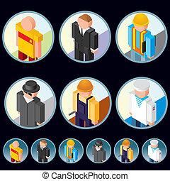isometric, pessoas, icons., vetorial, gráficos, ocupação